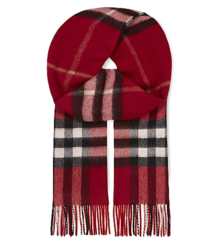 BURBERRY Giant check cashmere scarf (Parade+red