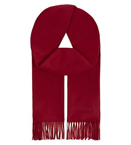 BURBERRY Plain cashmere scarf (Parade red