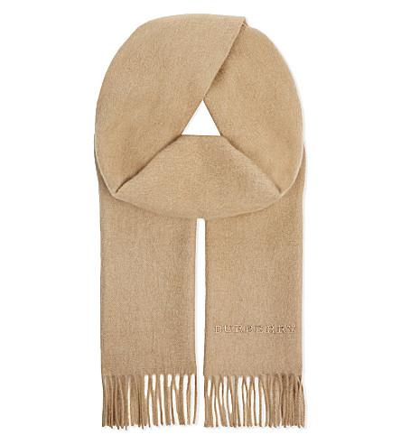 BURBERRY Plain cashmere scarf (Camel