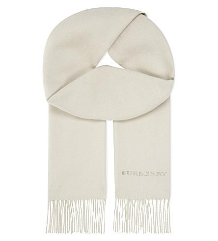 BURBERRY Plain cashmere scarf (Stone