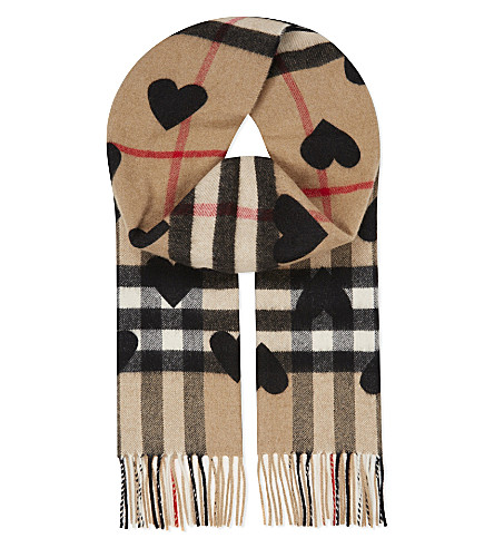 BURBERRY Heart print checked cashmere scarf (Black