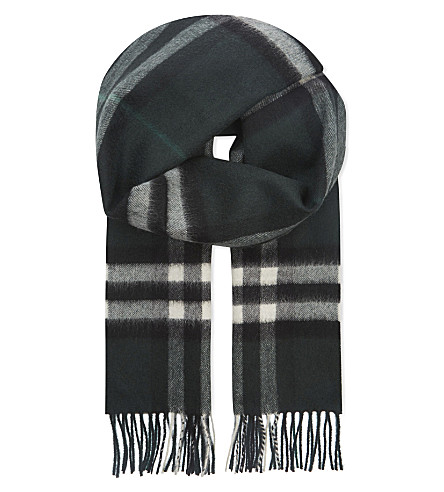 BURBERRY Giant check cashmere scarf (Dark+forest+green