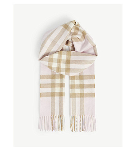 BURBERRY Giant check cashmere scarf (Ash+rose