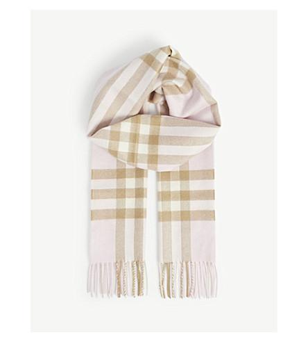 BURBERRY 巨型检查羊绒围巾 (灰 + 玫瑰色
