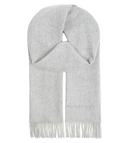 BURBERRY Plain cashmere scarf (Pearl+grey
