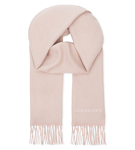 BURBERRY Plain cashmere scarf (Ash+rose