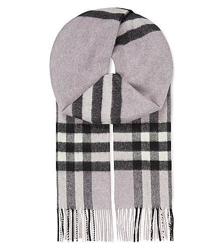 BURBERRY Giant check cashmere scarf (Dusty+lilac