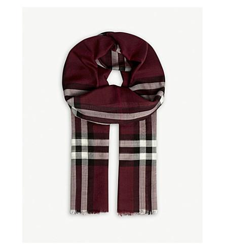 BURBERRY Oversized check print wool-silk gauze scarf (Plum