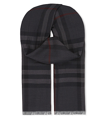 BURBERRY Giant check wool-silk scarf (Charcoal