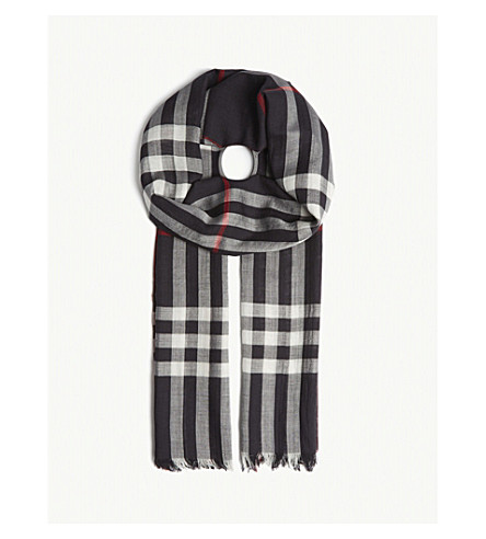 BURBERRY Giant Check wool and silk scarf (Navy