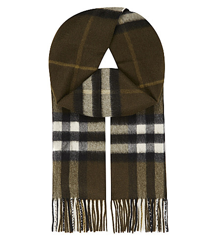 BURBERRY Giant check cashmere scarf (Olive+green