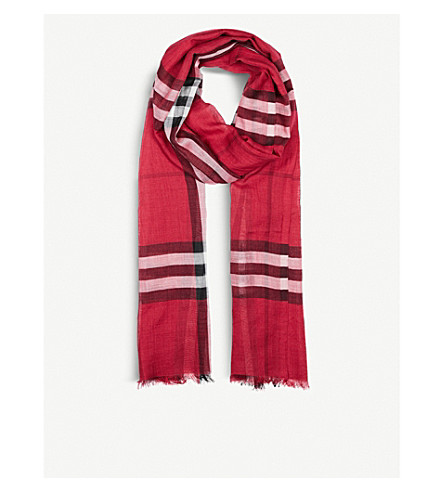BURBERRY Giant check wool and silk-blend scarf (Fuschia+pink