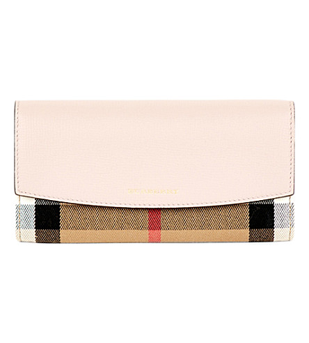 BURBERRY Porter horseferry check leather wallet (Pale+orchid