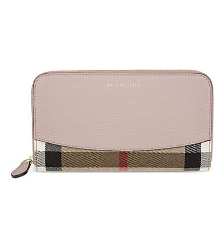 BURBERRY House check leather continental wallet (Pale+orchid