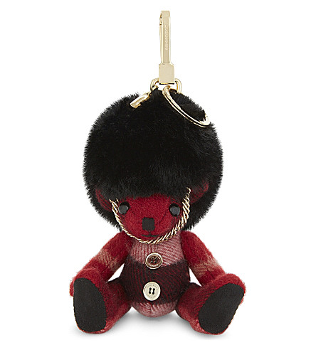 BURBERRY Cashmere 'Thomas Busby' key ring (Parade+red