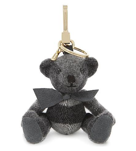 BURBERRY Thomas bear cashmere keyring (Mid+grey