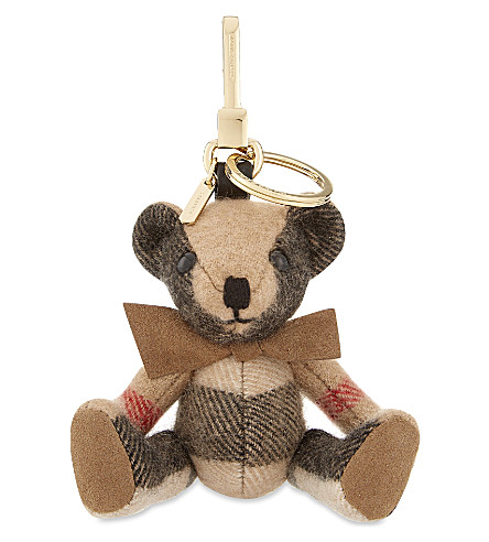 BURBERRY Thomas Bear check cashmere keyring (Camel