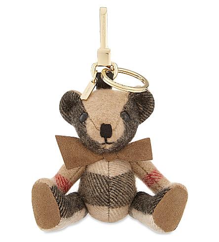 BURBERRY 托马斯熊格纹绒钥匙圈 (骆驼