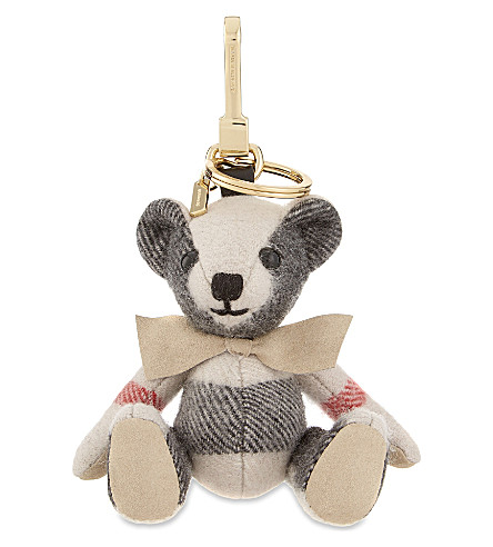 BURBERRY Thomas Bear check cashmere keyring (Stone