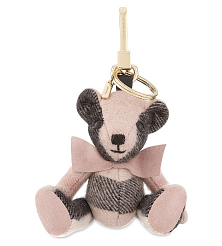 BURBERRY Thomas Bear checl cashmere keyring (Ash+rose