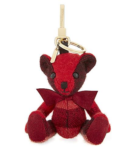 BURBERRY Thomas Bear check cashmere keyring (Parade red