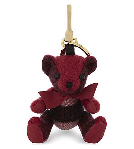 BURBERRY 托马斯熊格纹羊绒钥匙扣 (褐色 + 粉红色