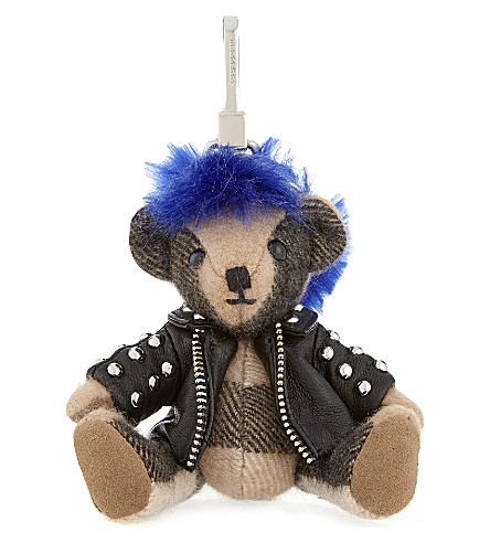 BURBERRY Punk Thomas Bear check cashmere keyring (Camel