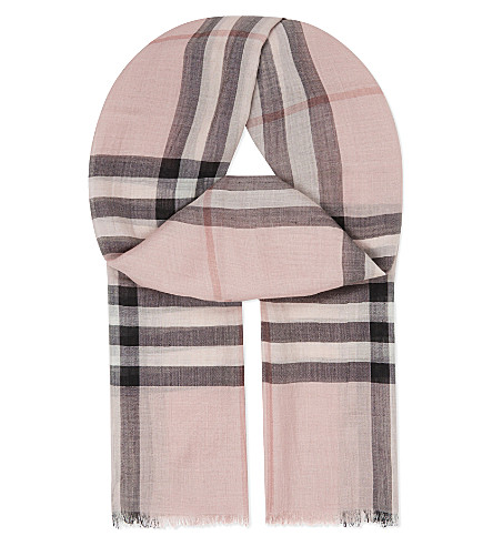 BURBERRY Giant check wool-silk scarf (Ash+rose