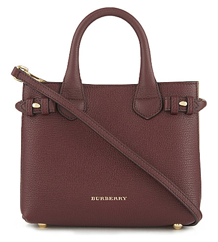 BURBERRY Banner check trim baby leather tote (Mahogany+red