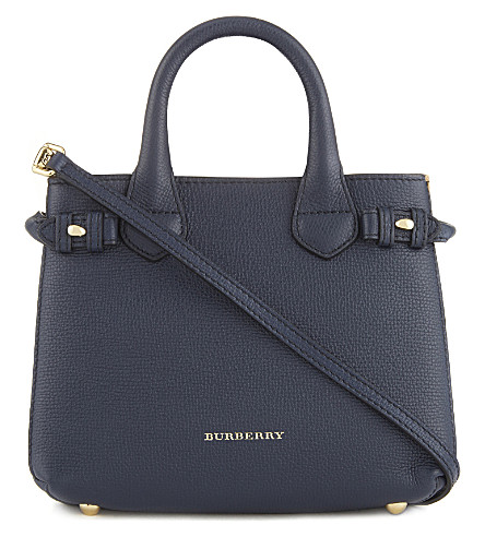 BURBERRY Banner check trim baby leather tote (Ink+blue