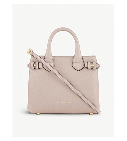 BURBERRY Banner check trim baby leather tote (Pale+orchid