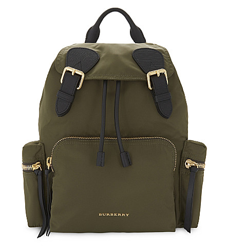BURBERRY Medium nylon backpack (Canvas green