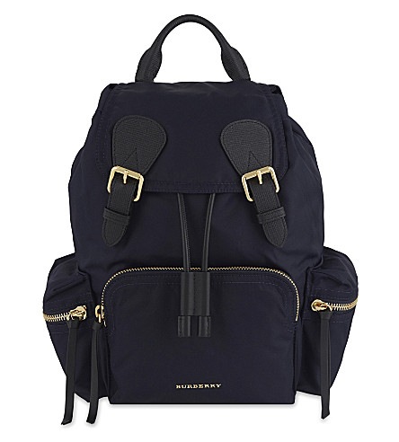 BURBERRY Medium nylon backpack (Ink+blue