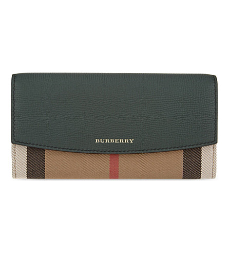 BURBERRY House check continental leather wallet (Bottle+green