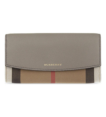 BURBERRY House check continental leather wallet (Thistle+grey