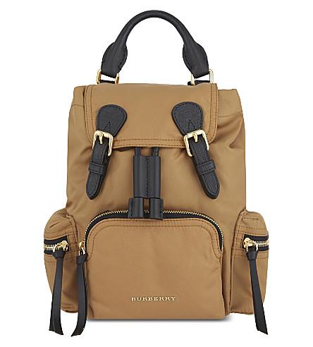 BURBERRY Small nylon backpack (Light flax