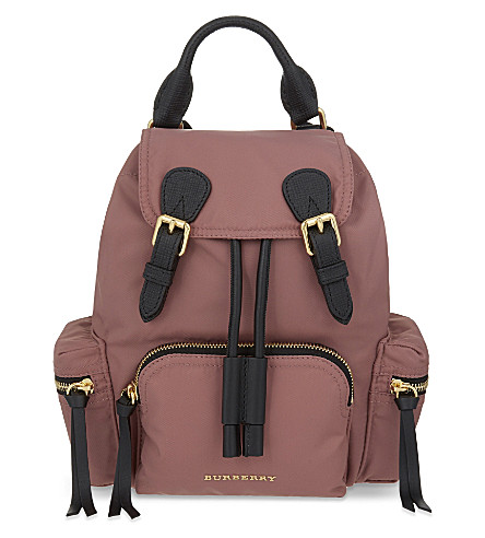 BURBERRY The Rucksack small nylon and leather backpack (Mauve+pink