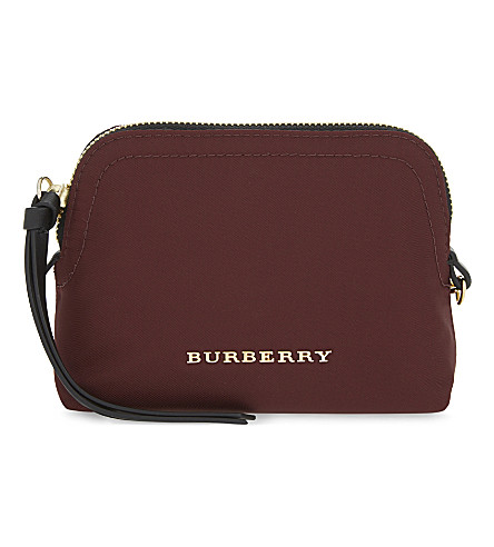 BURBERRY Small nylon pouch (Burgundy+red