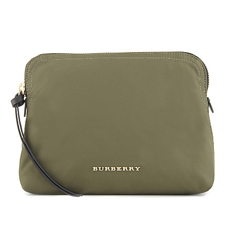BURBERRY Zip pouch (Canvas+green