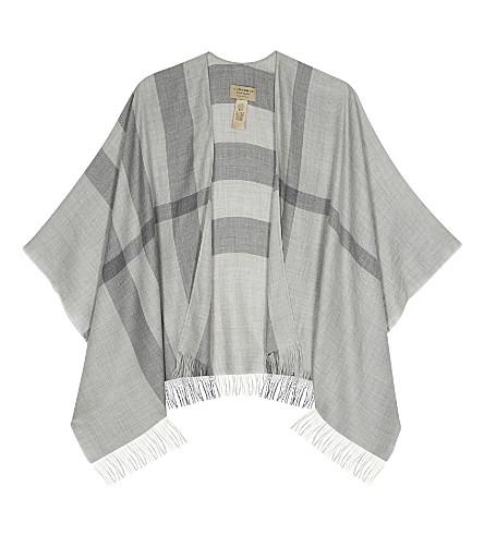 BURBERRY Check cashmere cape (Pale+grey