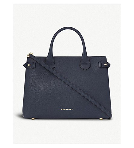 BURBERRY Banner medium leather tote (Ink blue