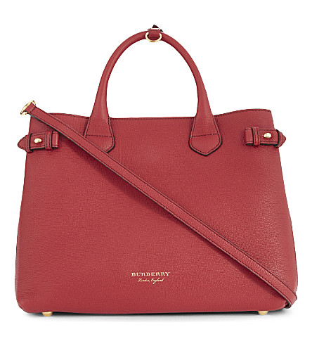 BURBERRY Banner medium leather tote (Russet+red