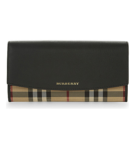 BURBERRY Porter horseferry check leather wallet (Black