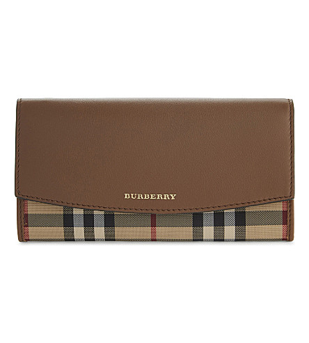BURBERRY Porter horseferry check leather wallet (Tan