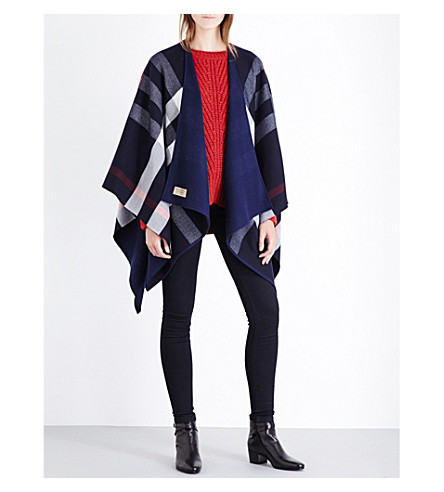 BURBERRY Charlotte reversible wool cape (Navy