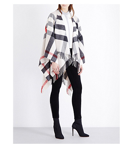 BURBERRY Colette checked cashmere-wool blend cape (Stone