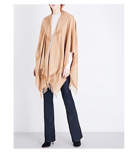 BURBERRY Tonal mega check cashmere cape (Camel