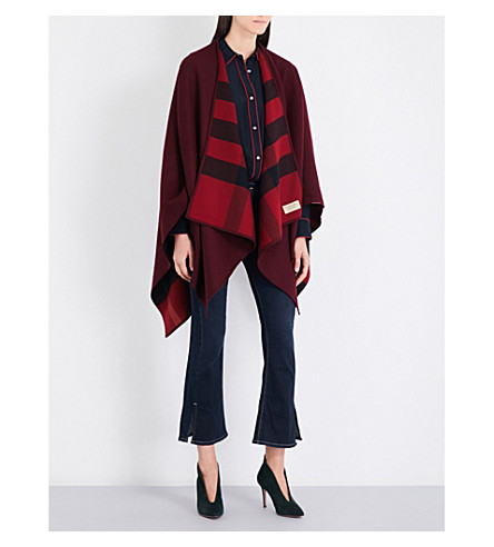 BURBERRY Charlotte reversible check cape (Parade+red