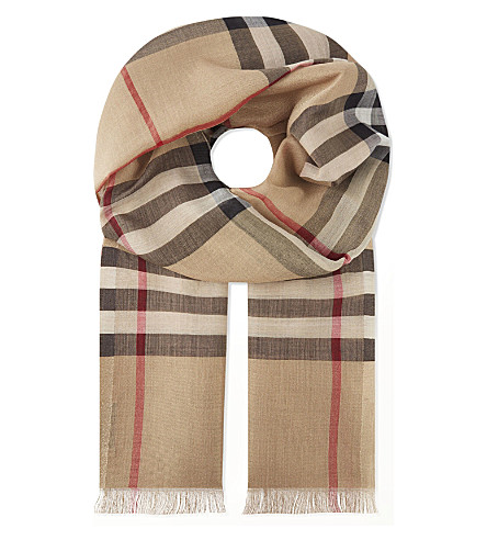 BURBERRY Giant check metallic silk & wool scarf (Camel