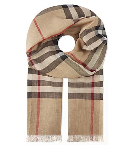 BURBERRY 巨人格纹金属丝绸 & 羊毛围巾 (骆驼